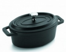 BLACK CAST ALUMINUM OVAL CASSEROLE WITH LID MINI 12x8,5 CMS