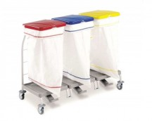 Laundry trolley with lid and pedal